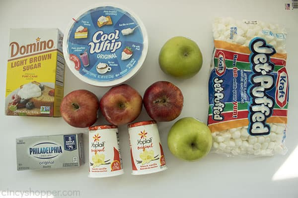 Overhead shot of all the ingredients on a white background