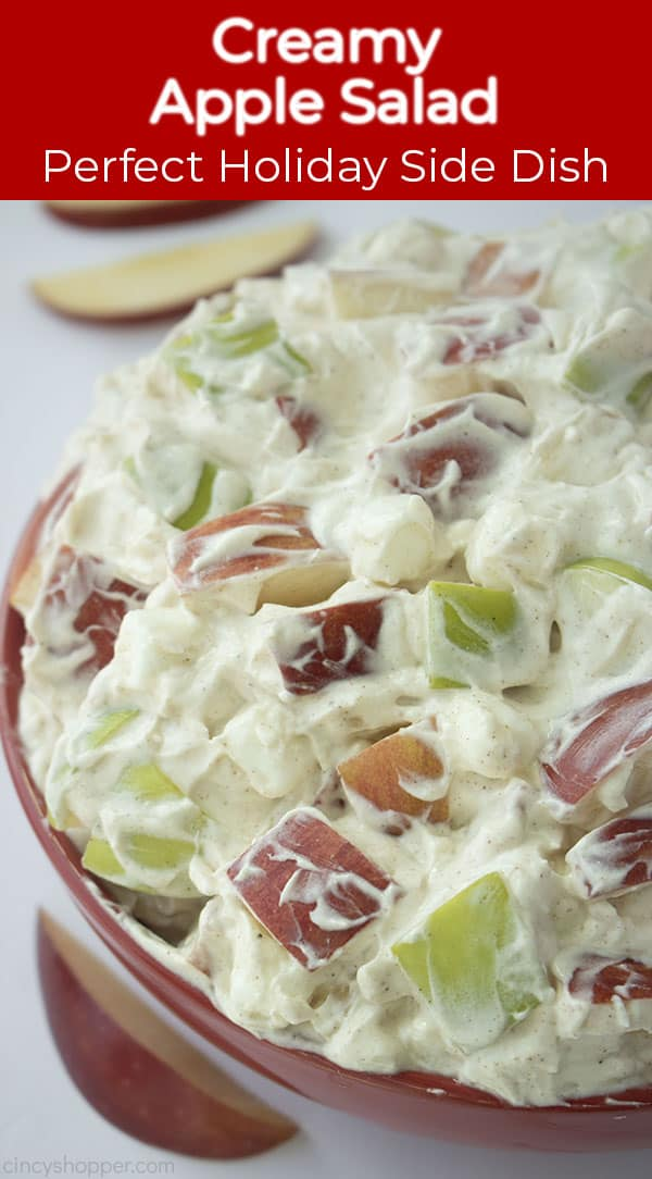 Long pin image of the Creamy Apple Salad titled Creamy Apple Salad, Perfect Holiday Side Dish in a red banner