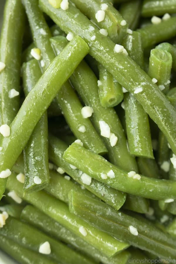 Closeup of green beans with garlic and butter