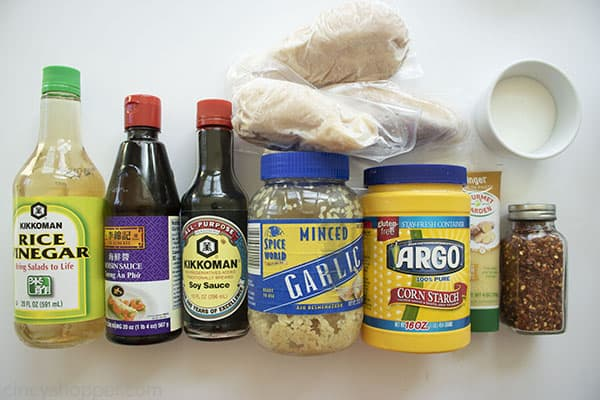 Ingredients to make General Tso's Chicken