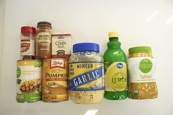 Ingredients to make fall pumpkin hummus