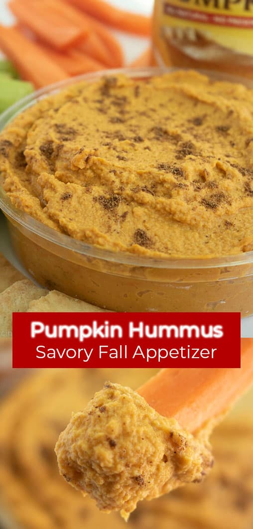 Long Pin text on two images Pumpkin Hummus Savory Fall Appetizer!