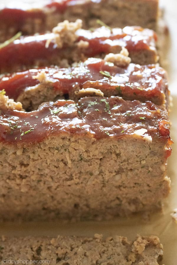 Slices of tangy glazed meatloaf on brown parchment paper.