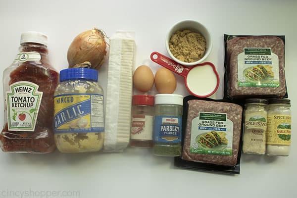 Ingredients to make meatloaf.