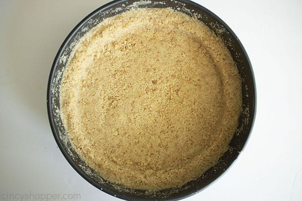 cheesecake crust freshly out of the freezer