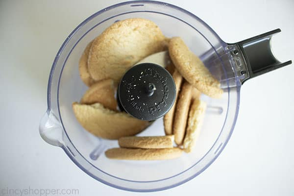 process picture of blitzing sugar cookies in a food processor