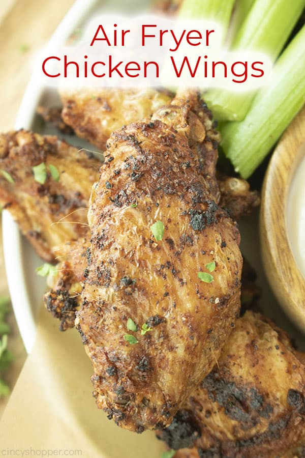 Close up of wing text on image Air Fryer Chicken Wings
