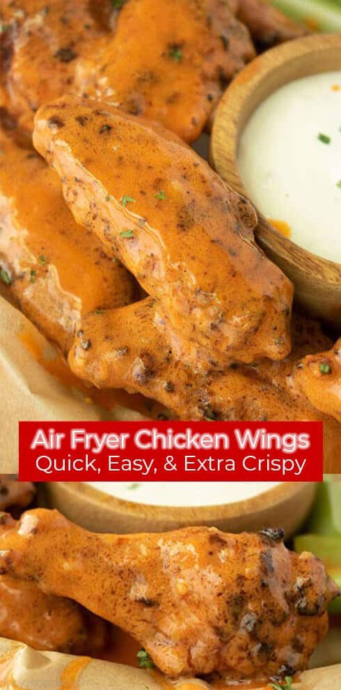 Long pin collage red banner with text Air Fryer Chicken Wings Extra Crispy Air Fryer Chicken Wings