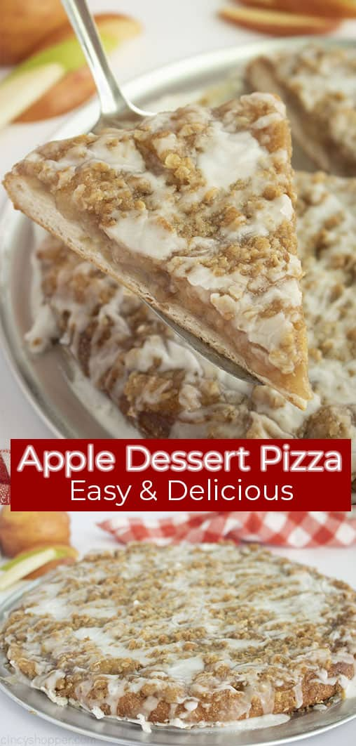 Long Pin collage with red banner text Apple Dessert Pizza Easy & Delicious