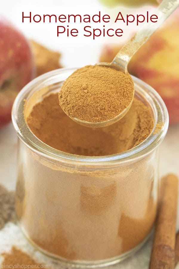Text on image Homemade Apple Pie Spice with spices and apple on a gray background