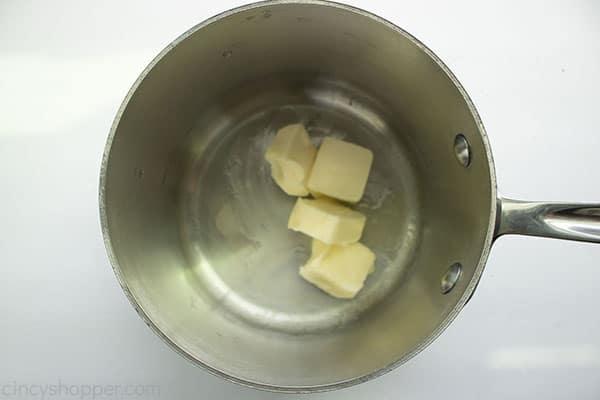 Butter in saucepan.