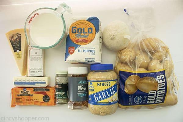 Ingredients to make potato casserole.
