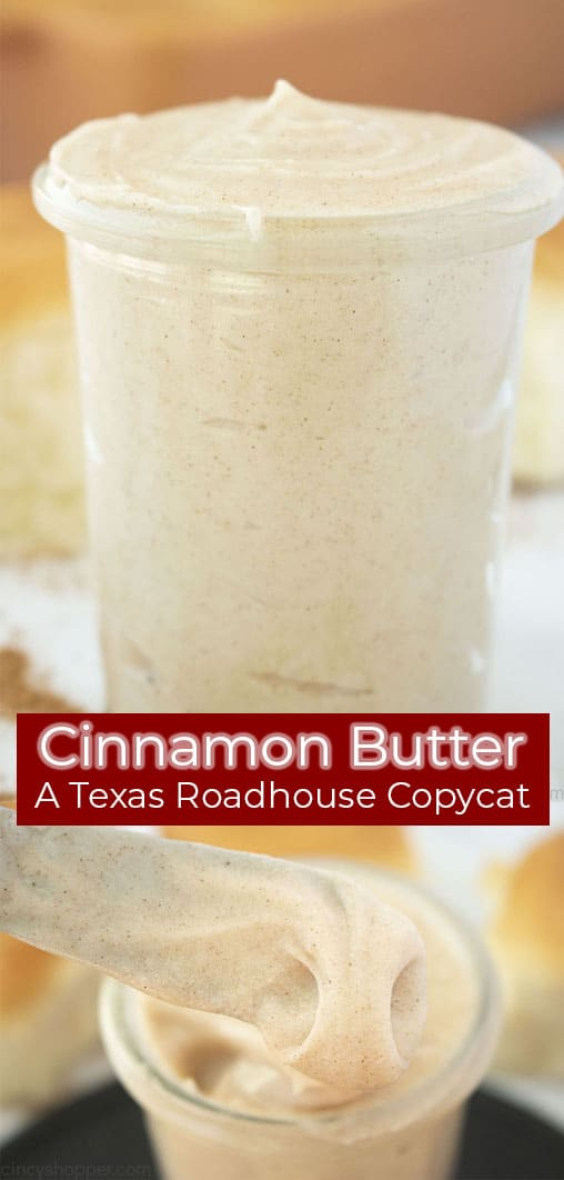 Long Pin collage with red banner text Cinnamon Butter A Texas Roadhouse CopyCat
