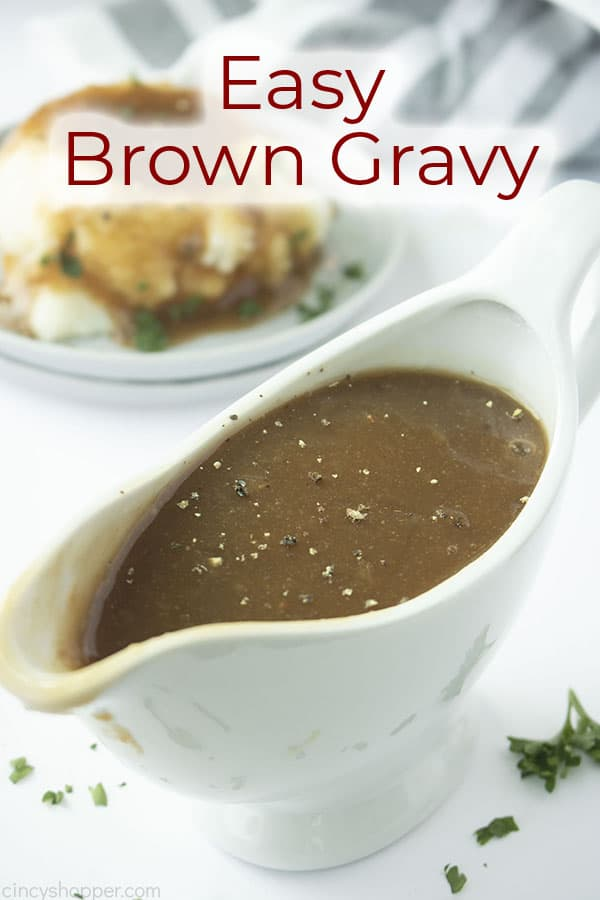 Brown Gravy in a boat text on image Easy Brown Gravy