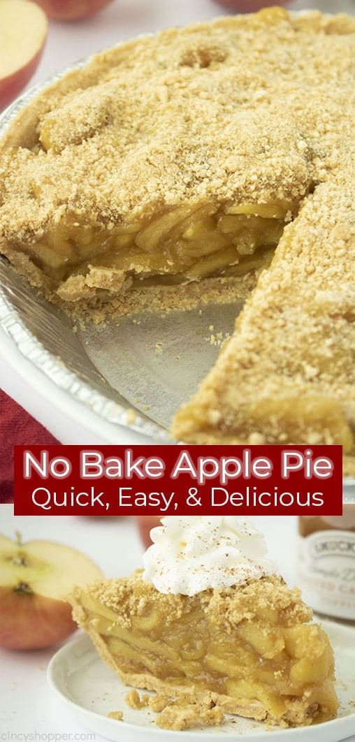 Long Pin collage red banner text No Bake Apple Pie Quick, Easy, & Delicious