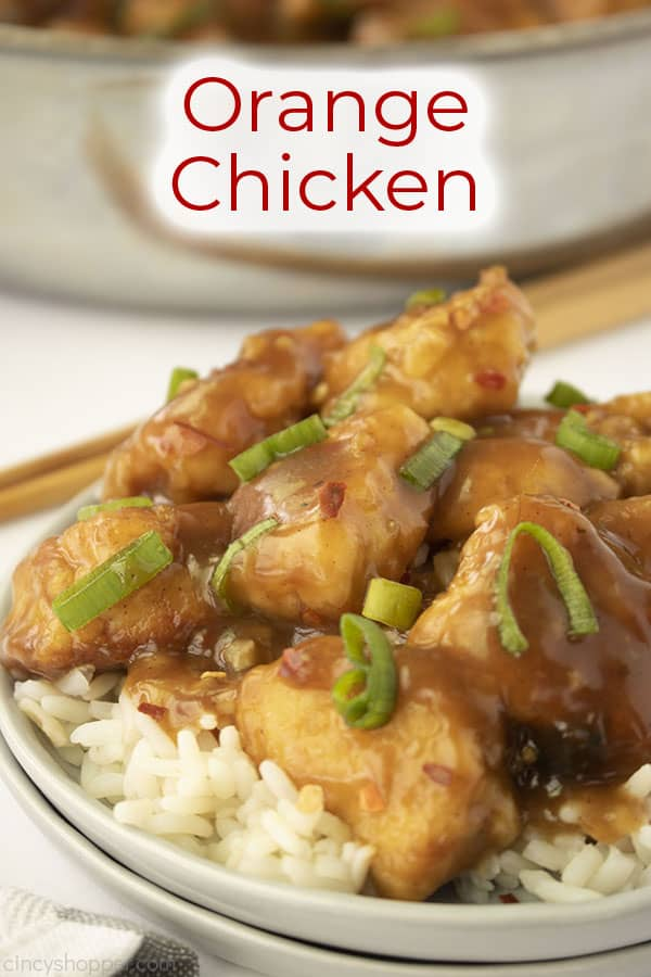 Text on image Orange Chicken with plate and pan on white background