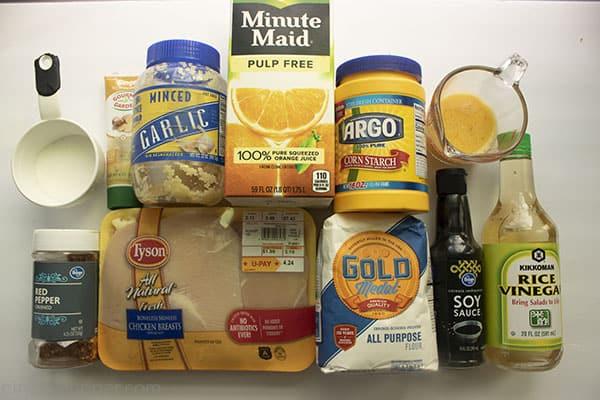 Ingredients to make chicken recipe