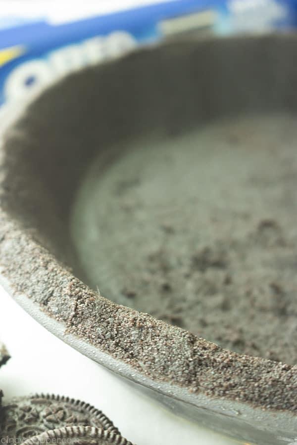 Closeup of chocolate pie crust