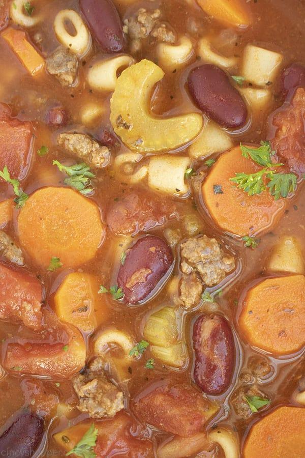 Closeup of Pasta Fagioli soup