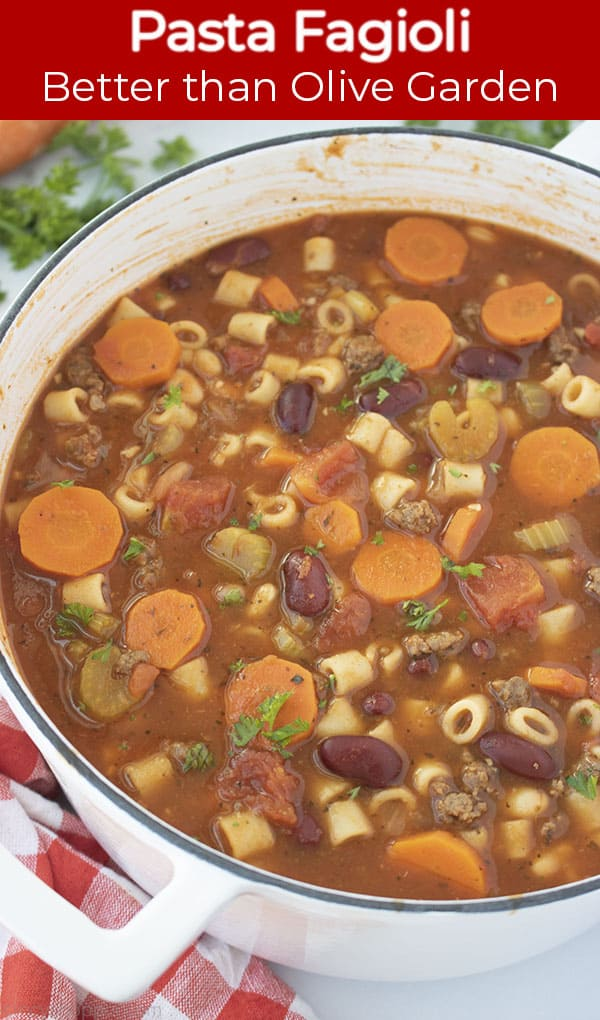 Long Pin with red Banner text Pasta Fagioli Better than Olive Garden