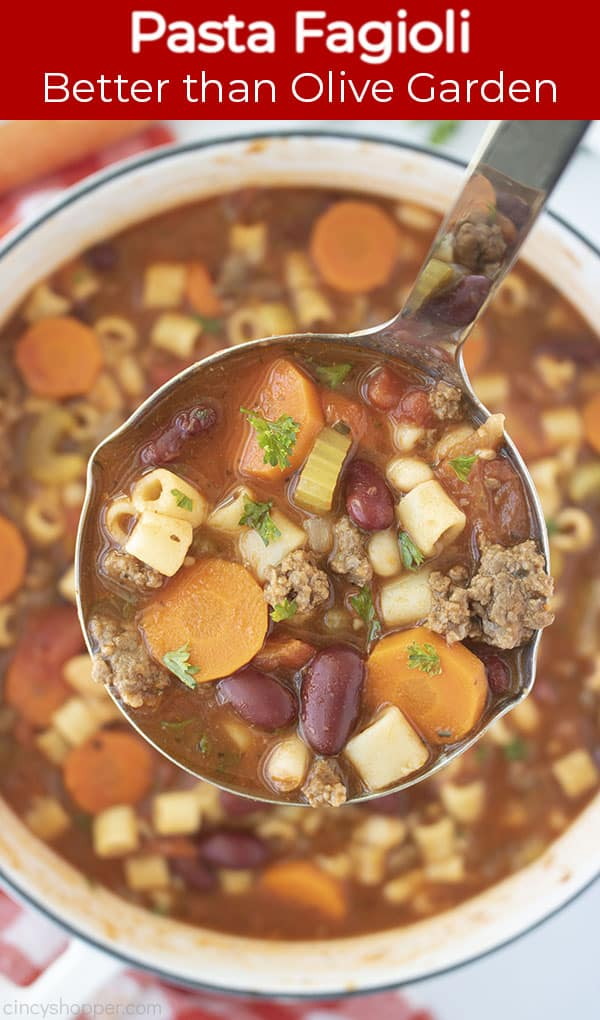Long Pin image with red Banner text Pasta Fagioli Better than Olive Garden
