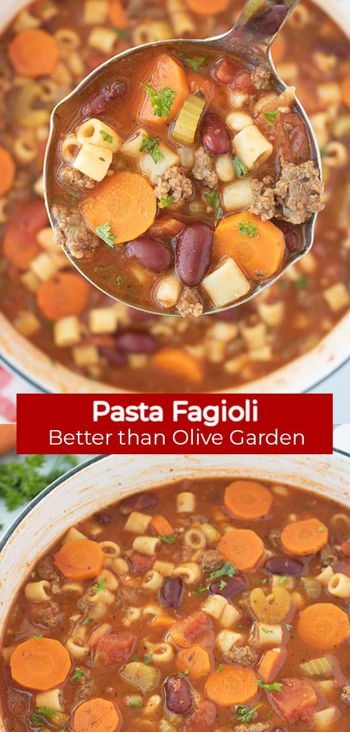 Long Pin collage with red Banner text Pasta Fagioli Better than Olive Garden