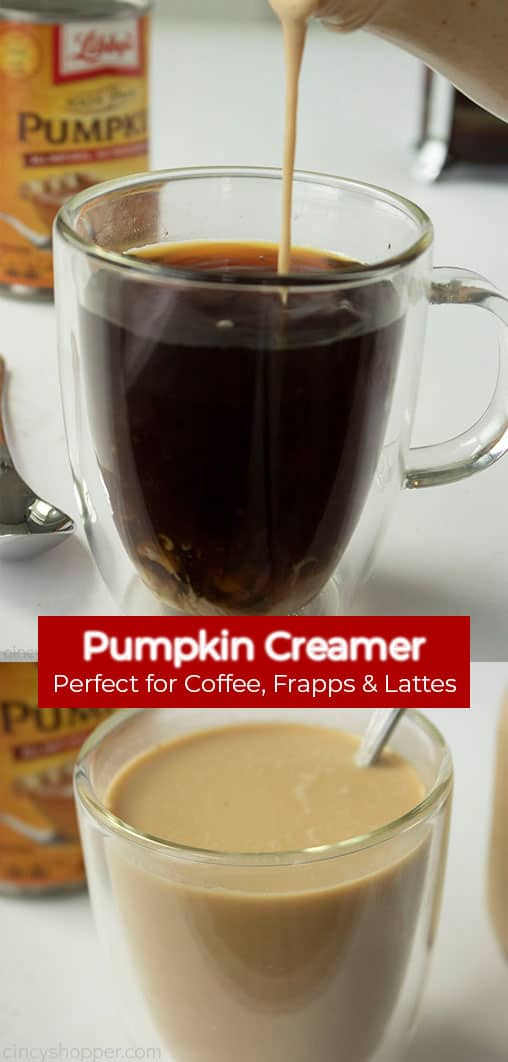 Long Pin collage with banner Pumpkin Creamer -Perfect for Coffee, Frapps & Lattes