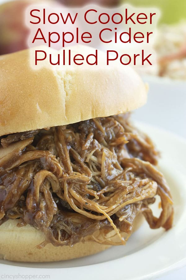 Long pin image of the Pulled Pork sandwich titled Slow Cooker Apple Cider Pulled Pork in red