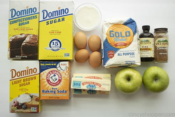 Ingredients for apple cake.