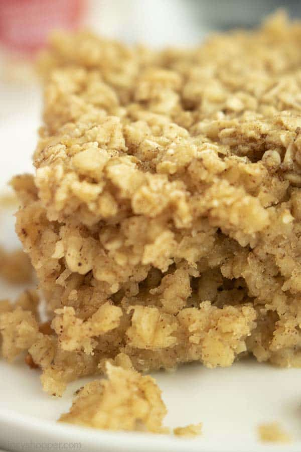 Closeup of baked oatmeal on a plate