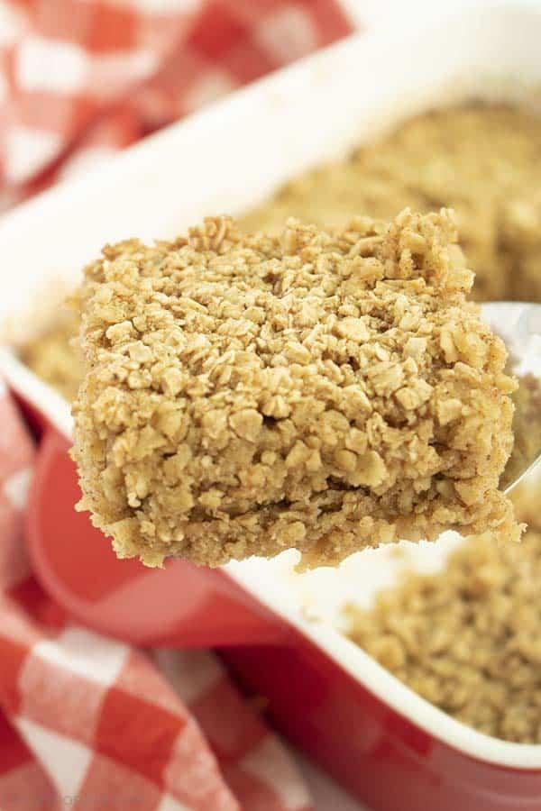 Piece of baked oatmeal on a spatula