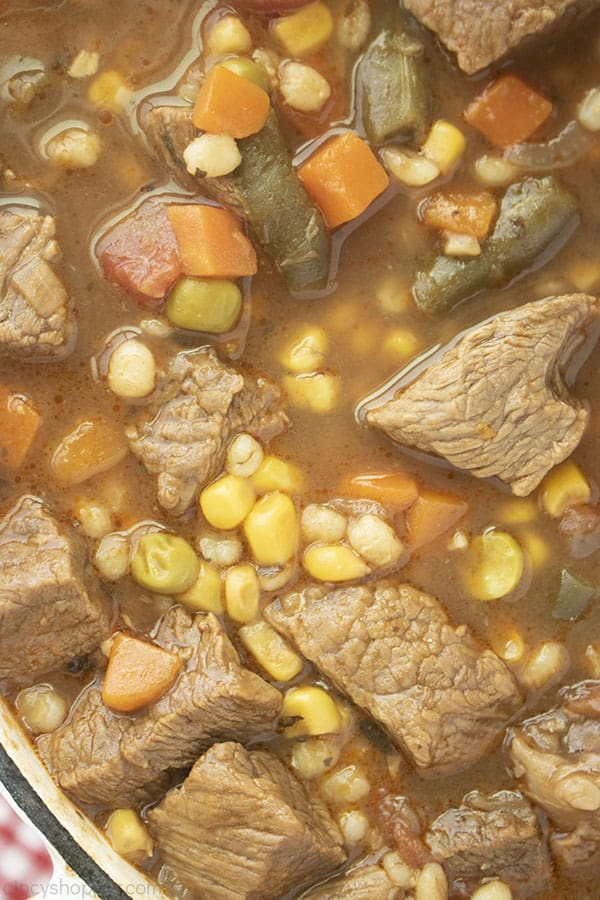 Closeup image of beef barley soup