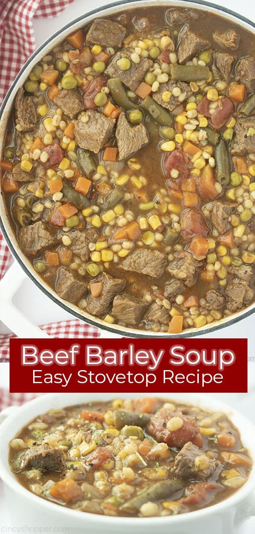 Long pin collage with text on red banner Beef Barley Soup Easy Stovetop Recipe