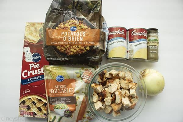 Ingredients for Easy Pot Pie.