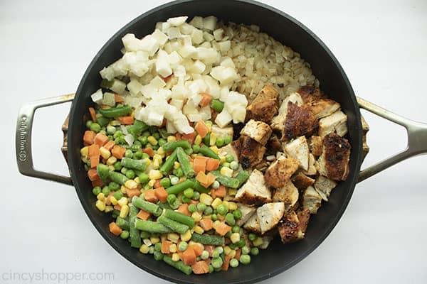 Chicken Pot Pie ingredients in fry pan.