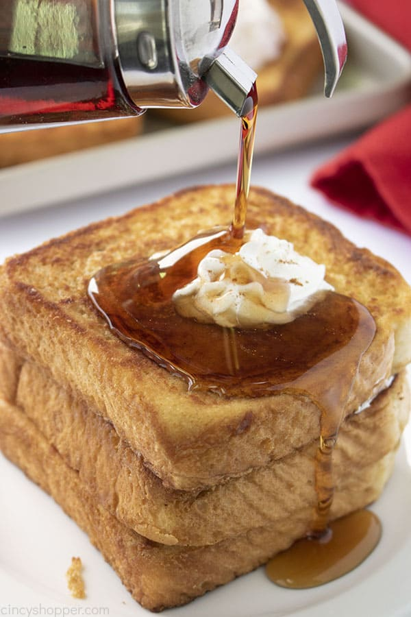 Syrup pouring on French Toast
