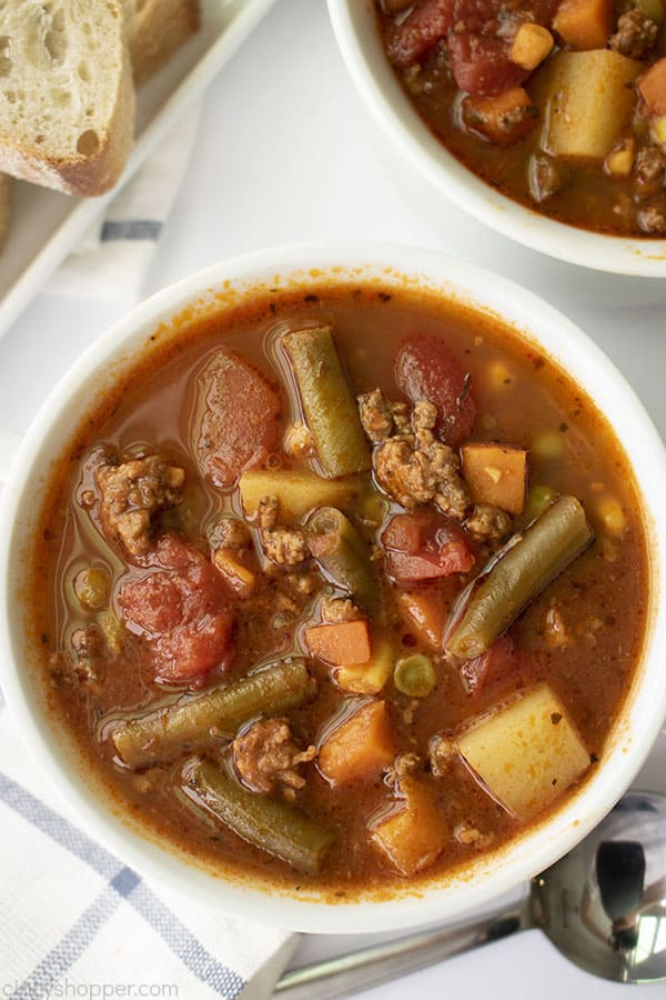 Hamburger soup on a bowl