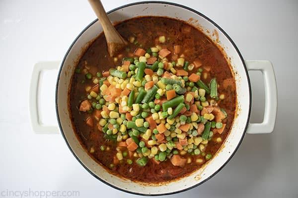 Veggies added to pot