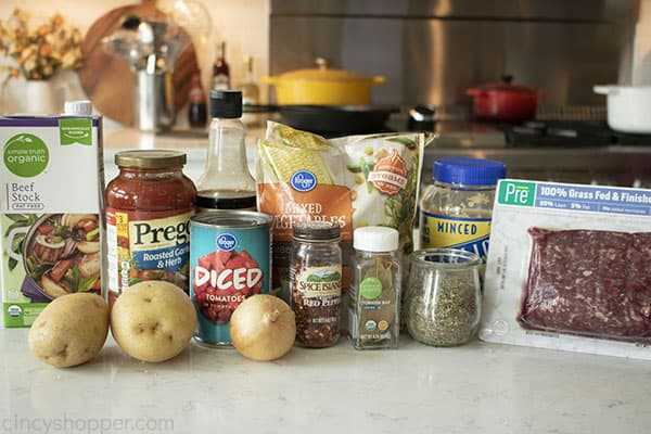 Ingredients for ground beef soup