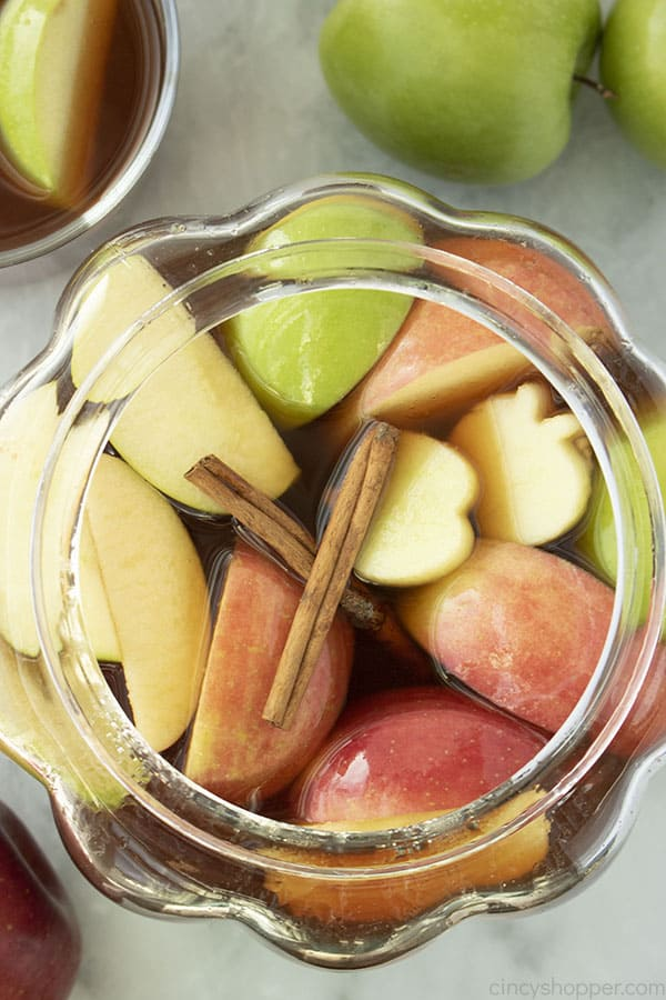 Homemade Apple Cider with fruit on top