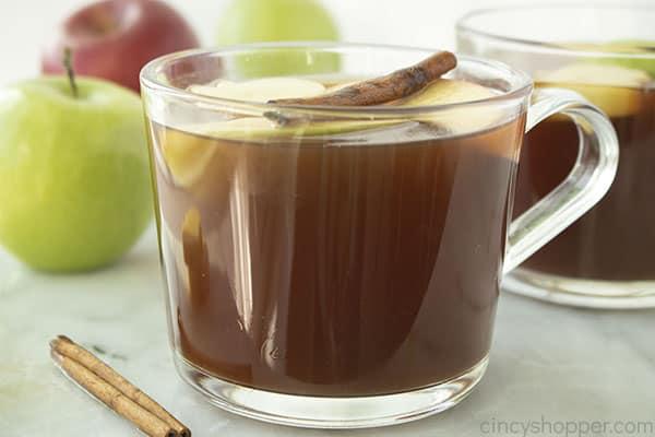 Glass of fresh warm apple cider