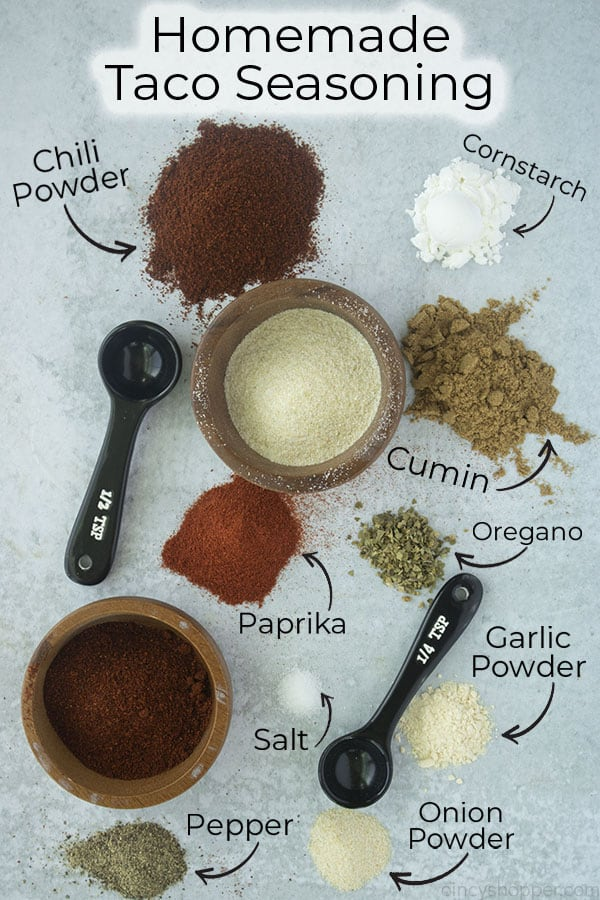 Text on image for ingredients Homemade Taco Seasoning