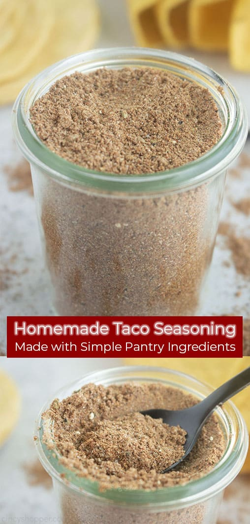 Long pin collage with re banner Homemade Taco Seasoning Made with Simple Pantry Ingredients