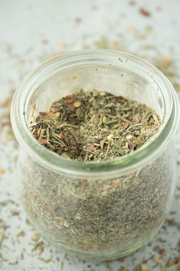 Overhead image of Italian mix in a jar