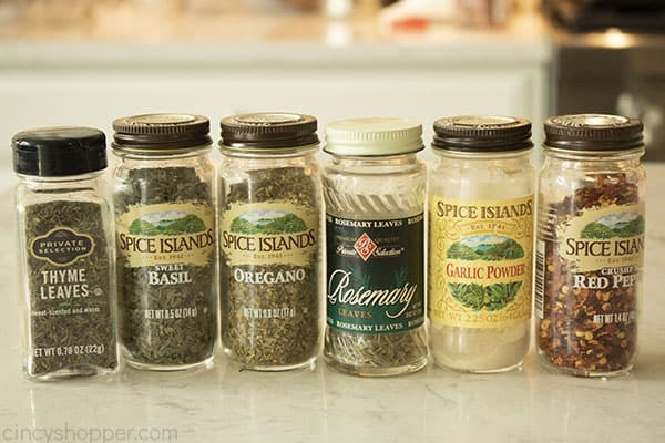 Spice ingredients for Italian mix