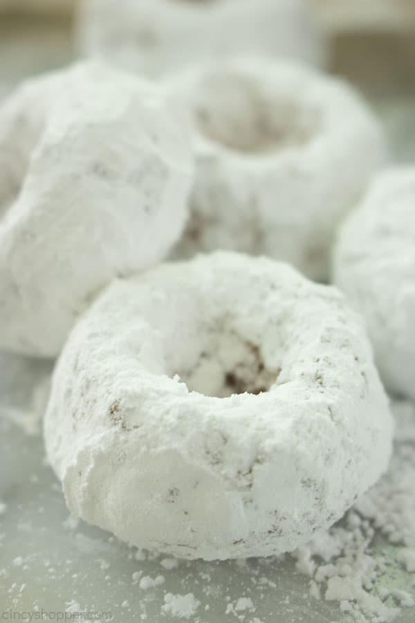 Pile of mini powdered doughnuts