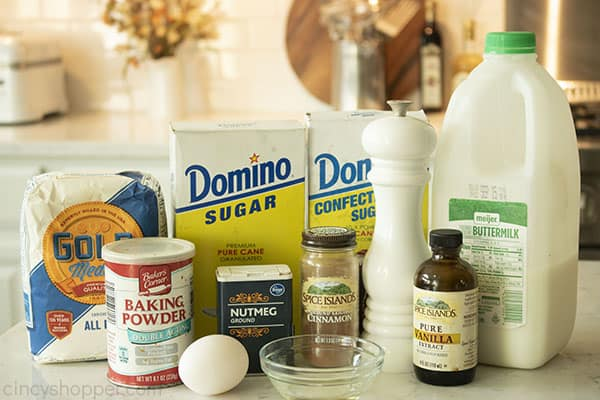 Ingredients for old fashioned powdered donuts