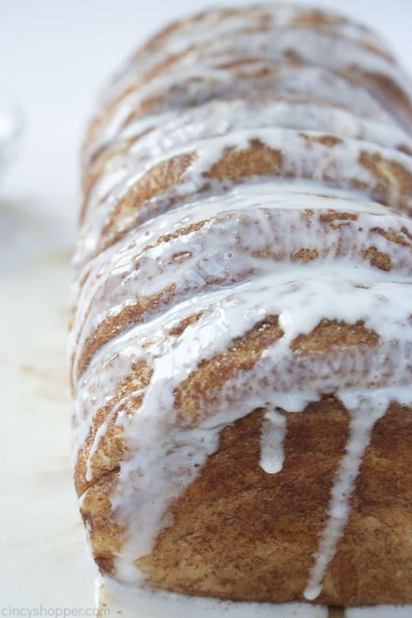 Glaze on Cinnamon Pull Apart Bread