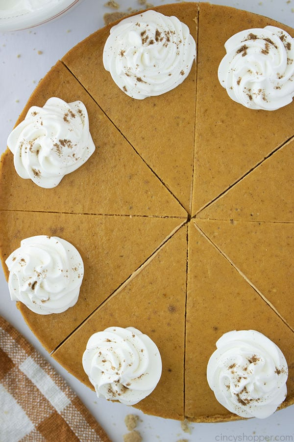 Pumpkin Cheesecake cut into slices