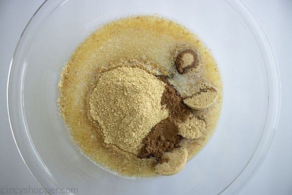 Crust ingredients in clear bowl